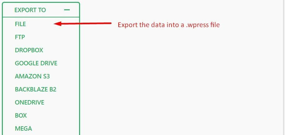 All-in-One WP Migration - Export to File